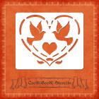 Силиконов шаблон - сърце с птици #01