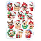 Ядливи стикери - анимирани Коледни кученца #01
