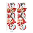 Ядливи стикери - Коледни ивици - кученца #01