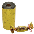 Целуфанов лист за опаковка - златен със звезди 35 х 100 см