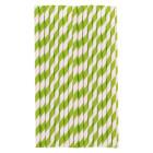 Хартиени сламки - светло зелени линии