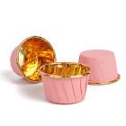 Кофички за мъфини - розови златисто фолирани 25 бр.