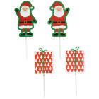 Топър за кекс - Дядо Коледа и подарък